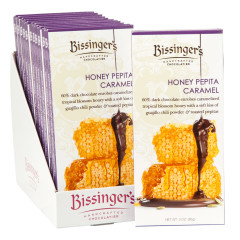 BISSINGER'S DARK CHOCOLATE HONEY PEPITA CARAMEL 3 OZ BAR