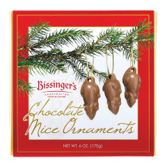 BISSINGER'S MILK CHOCOLATE MICE ORNAMENTS 12 PC 6 OZ BOX