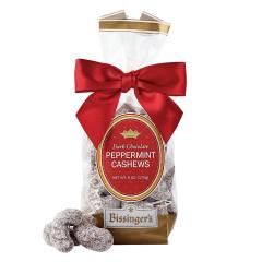 BISSINGER'S DARK CHOCOLATE PEPPERMINT CASHEWS 7 OZ BAG