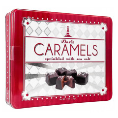 NANCY ADAMS DARK CHOCOLATE SEA SALT CARAMELS 11 OZ TIN