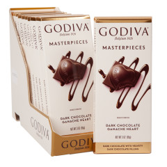GODIVA MASTERPIECES DARK CHOCOLATE GANACHE HEART 3 OZ TABLET BAR