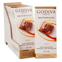 GODIVA MASTERPIECES MILK CHOCOLATE CARAMEL LION 3 OZ TABLET BAR