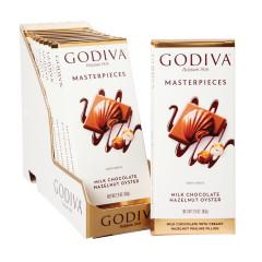 GODIVA MASTERPIECES MILK CHOCOLATE HAZELNUT OYSTER 3 OZ TABLET BAR