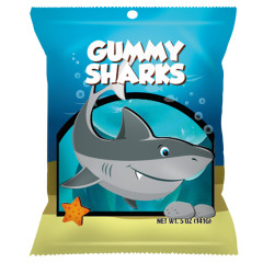 AMUSEMINTS GUMMY SHARKS 5 OZ PEG BAG