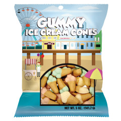 AMUSEMINTS GUMMY ICE CREAM CONES 5 OZ PEG BAG