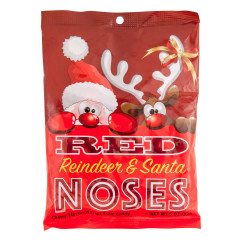 AMUSEMINTS REINDEER AND SANTA NOSES CHERRY FRUIT SOURS 5 OZ PEG BAG