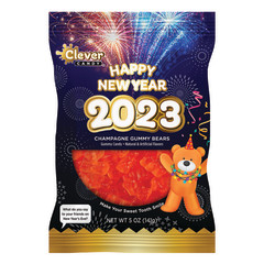 AMUSEMINTS NEW YEARS CHAMPAGNE FLAVORED GUMMY BEARS 5 OZ PEG BAG