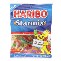 HARIBO STARMIX GUMMI CANDY 5 OZ PEG BAG