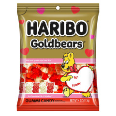 HARIBO VALENTINE GOLDBEARS GUMMI CANDY 4 OZ PEG BAG