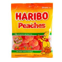 HARIBO PEACHES GUMMI CANDY 5 OZ PEG BAG
