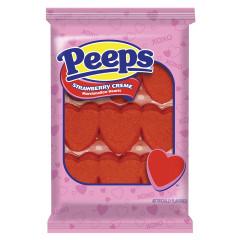 PEEPS STRAWBERRY MARSHMALLOW HEARTS 9 PC 3 OZ TRAY