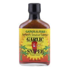 CATCH A FIRE GARLIC SNIPER PEPPER SAUCE 6.5 OZ BOTTLE *FL DC ONLY*