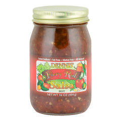 DENNIS' HOT FIERY RED SALSA 16 OZ JAR *FL DC ONLY*