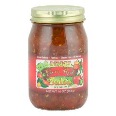 DENNIS' MEDIUM FIERY RED SALSA 16 OZ JAR *FL DC ONLY*