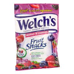 WELCH'S BERRIES AND CHERRIES FRUIT SNACKS 5 OZ PEG BAG