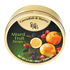 CAVENDISH & HARVEY MIXED FRUIT DROPS 5.3 OZ TIN