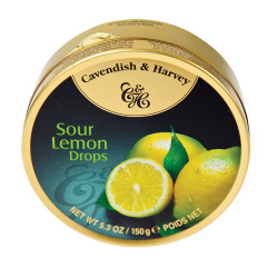 CAVENDISH & HARVEY SOUR LEMON DROPS 5.3 OZ TIN