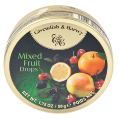 CAVENDISH & HARVEY MIXED FRUIT DROPS 1.75 OZ TIN