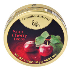 CAVENDISH & HARVEY SOUR CHERRY DROPS 1.75 OZ TIN