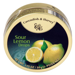 CAVENDISH & HARVEY SOUR LEMON DROPS 1.75 OZ TIN