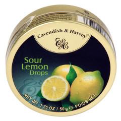 CAVENDISH & HARVEY SOUR LEMON DROPS 1.75 OZ TIN