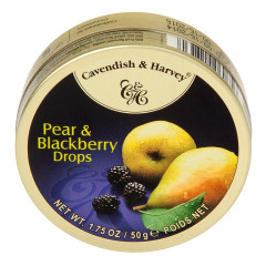 CAVENDISH & HARVEY PEAR & BLACKBERRY DROPS 1.75 OZ TIN
