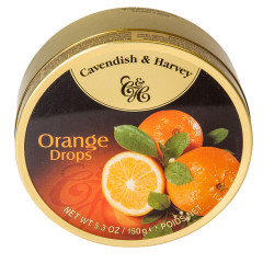 CAVENDISH & HARVEY ORANGE DROPS 5.3 OZ TIN