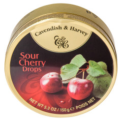 CAVENDISH & HARVEY SOUR CHERRY DROPS 5.3 OZ TIN