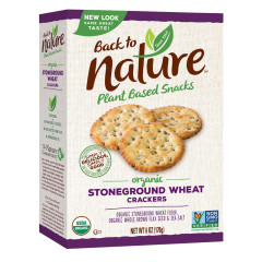 BACK TO NATURE ORGANIC STONEGROUND WHEAT CRACKERS 6 OZ BOX