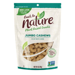 BACK TO NATURE JUMBO CASHEWS 9 OZ POUCH