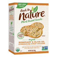 BACK TO NATURE ROSEMARY AND OLIVE OIL CRACKERS 8 OZ BOX