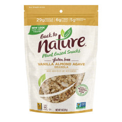 BACK TO NATURE GLUTEN FREE VANILLA ALMOND AGAVE GRANOLA 11 OZ POUCH