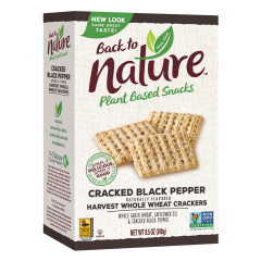 BACK TO NATURE CRACKED BLACK PEPPER WHOLE WHEAT CRACKERS 8.5 OZ BOX