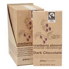 JELINA CRANBERRY ALMOND 72% DARK CHOCOLATE 3.52 OZ BAR