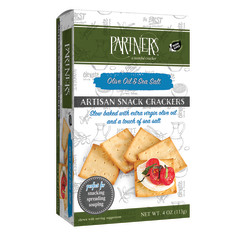 PARTNER'S OLIVE OIL AND SEA SALT SNACK CRACKERS 4 OZ BOX