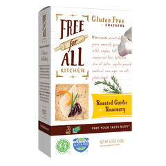 PARTNER'S FREE FOR ALL GLUTEN FREE ROASTED GARLIC AND ROSEMARY CRACKERS 5 OZ BOX