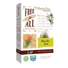 PARTNER'S FREE FOR ALL GLUTEN FREE OLIVE OIL AND HERB CRACKERS 5 OZ BOX