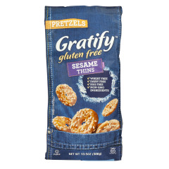 GRATIFY GLUTEN FREE SESAME PRETZEL THINS 10.5 OZ BAG