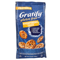 GRATIFY GLUTEN FREE EVERYTHING PRETZEL THINS 10.5 OZ BAG