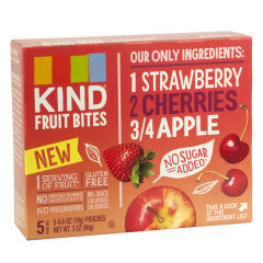 KIND STRAWBERRY CHERRY APPLE FRUIT BITES 5 PC 3 OZ BOX