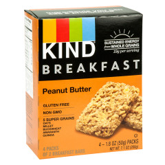 KIND PEANUT BUTTER BREAKFAST BAR 4 PC 7.1 OZ BOX