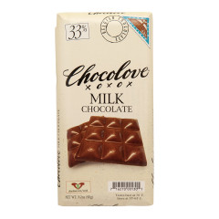 CHOCOLOVE 33% MILK CHOCOLATE 3.2 OZ BAR