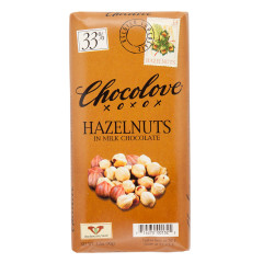 CHOCOLOVE HAZELNUTS IN MILK CHOCOLATE 3.2 OZ BAR