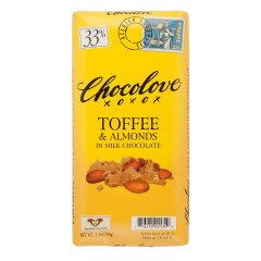 CHOCOLOVE TOFFEE AND ALMONDS IN MILK CHOCOLATE 3.2 OZ BAR