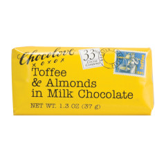 CHOCOLOVE TOFFEE AND ALMONDS IN MILK CHOCOLATE MINI 1.3 OZ BAR