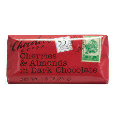 CHOCOLOVE CHERRIES & ALMONDS IN DARK CHOCOLATE MINI 1.3 OZ BAR