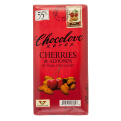 CHOCOLOVE CHERRIES AND ALMONDS IN DARK CHOCOLATE 3.2 OZ BAR