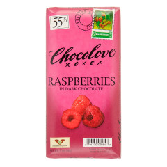 CHOCOLOVE RASPBERRIES IN DARK CHOCOLATE 3.2 OZ BAR
