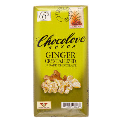 CHOCOLOVE CRYSTALLIZED GINGER IN DARK CHOCOLATE 3.2 OZ BAR
