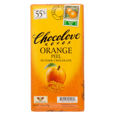 CHOCOLOVE ORANGE PEEL IN DARK CHOCOLATE 3.2 OZ BAR